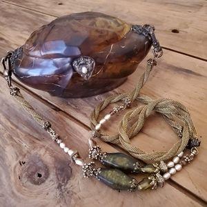 Vintage Maya Resin Handbag Amber Purse EUC